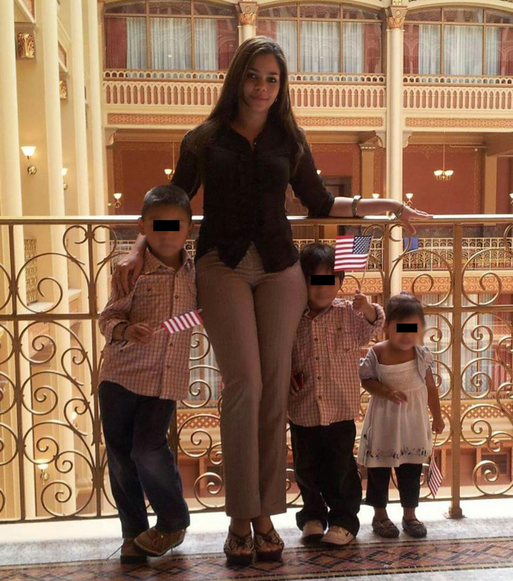 Yadira, with her children, ages 6, 8 and 9.