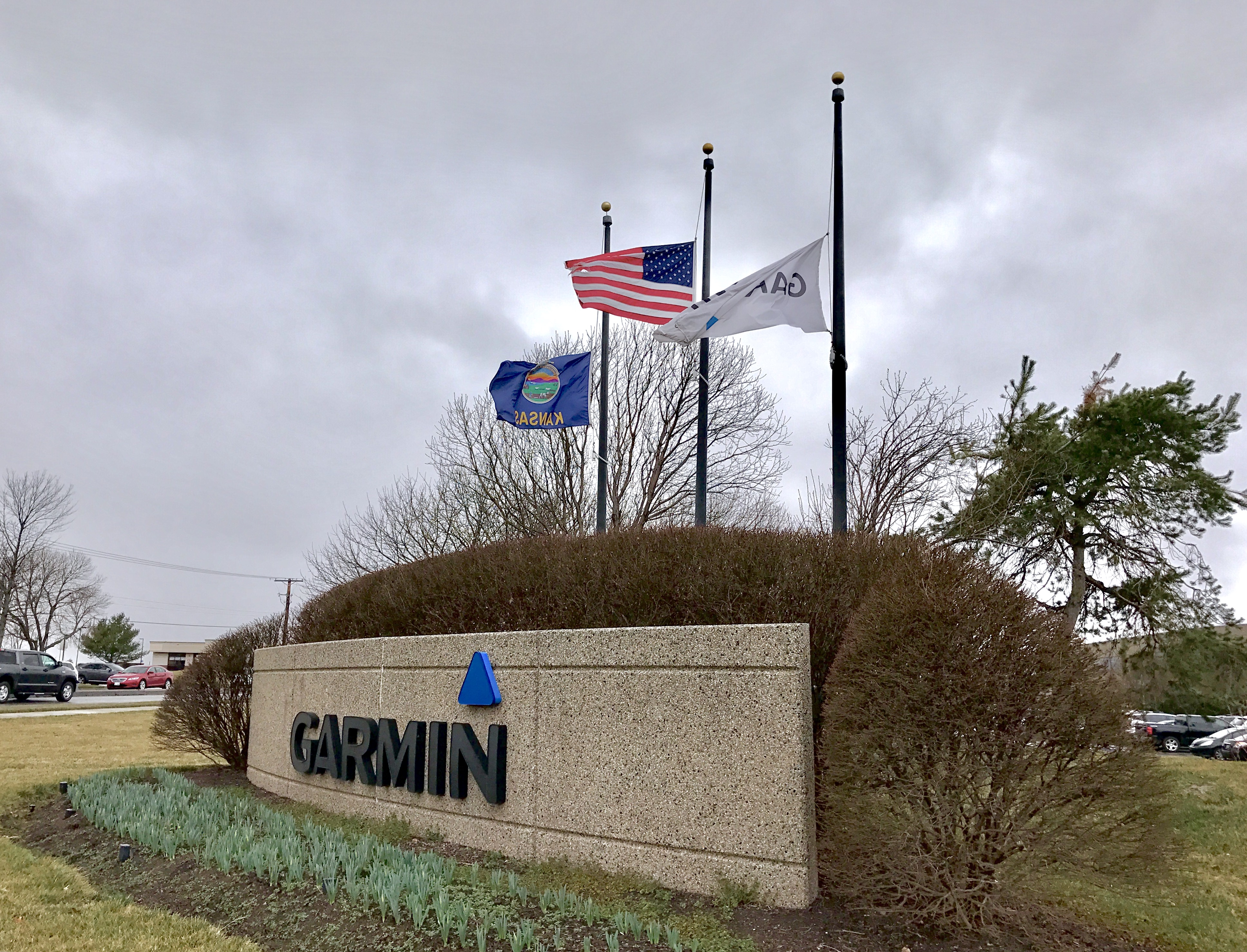 """A spokesperson with Garmin confirms the flags are at half-staff """"because of this tragedy."""""""