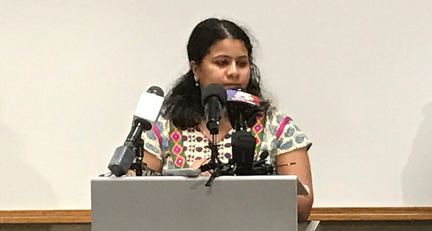 Sriniva Kuchibhotla's wife, Sunayana Dumala, spoke about her husband during a news conference at Garmin Friday.