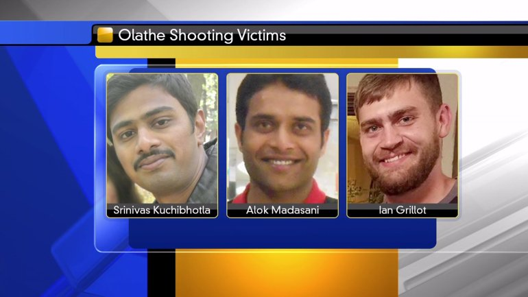 Victims shot at Austins Bar & Grill on February 22: Srinivas Kuchibhotla – Alok Madasani – Ian Grillot.  Srinivas Kuchibhotla was killed.