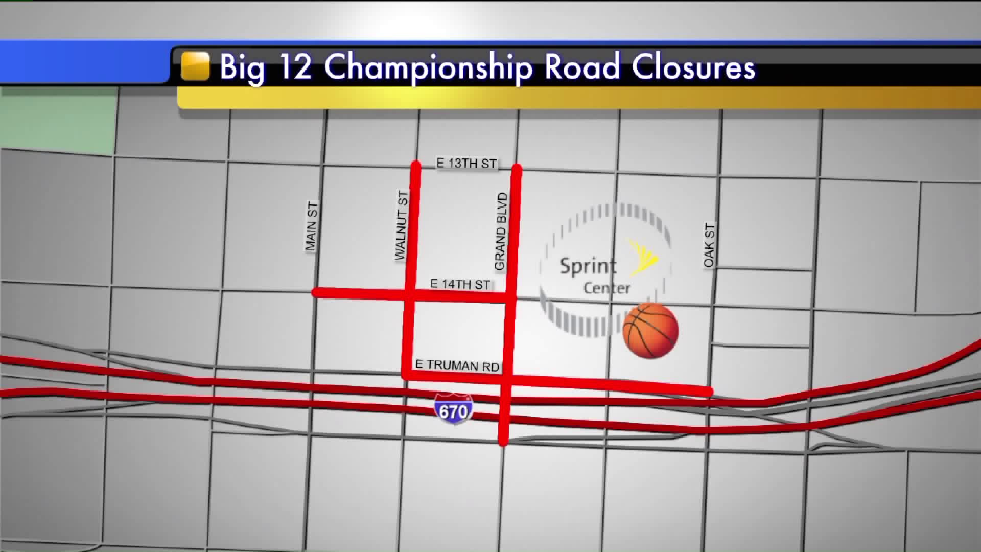 Big 12 Championship road closures