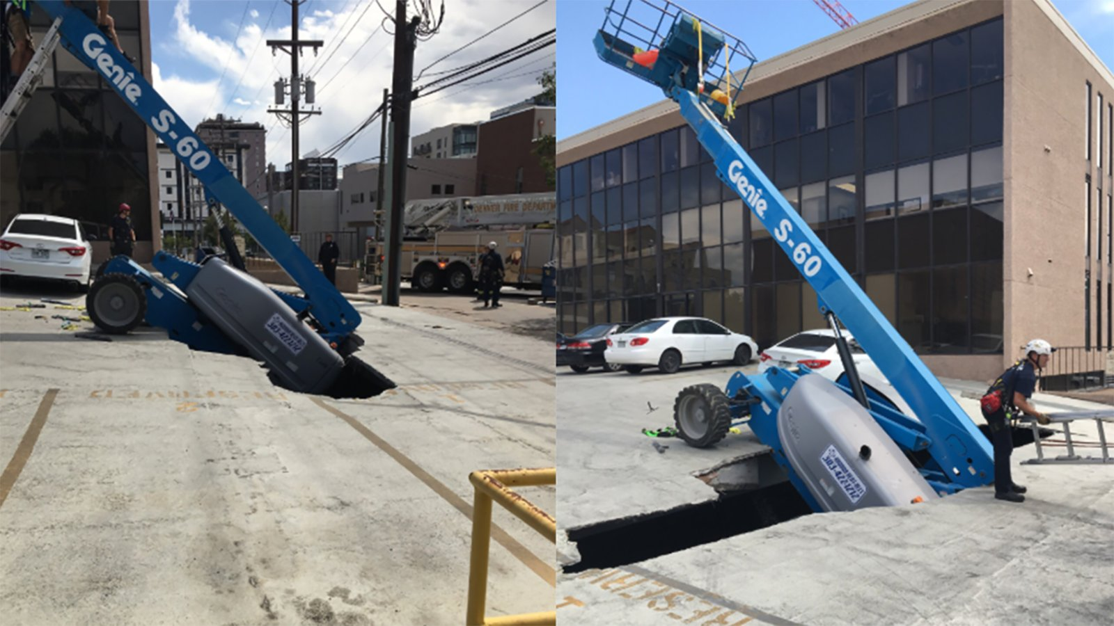 Picture of lift sticking out of the street