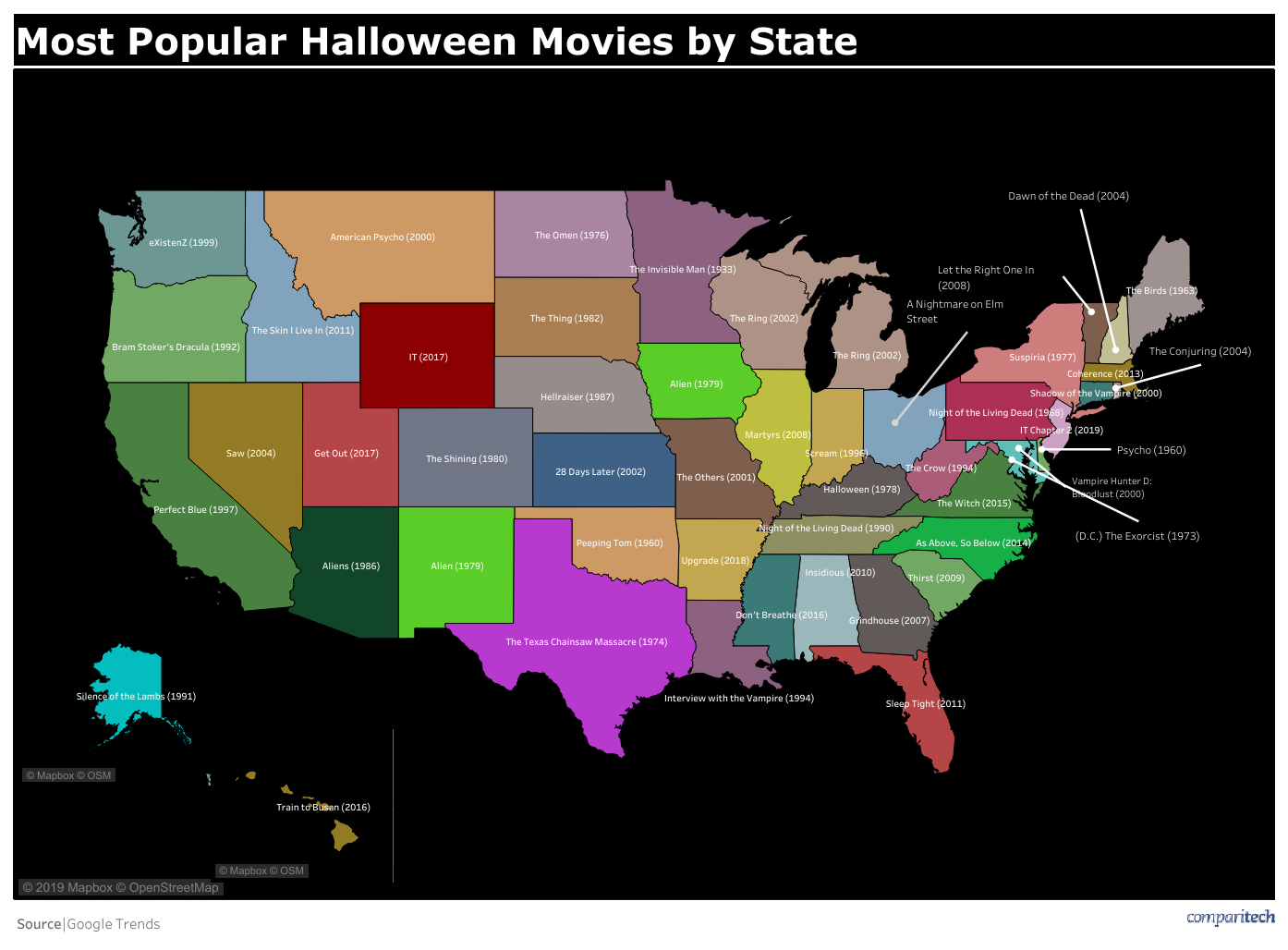 scary movies by state graphic