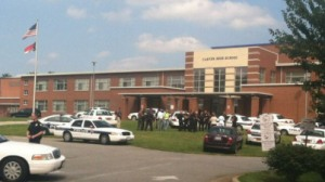 Scene outside Carver High after shooting on Friday (WGHP)