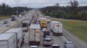Traffic on Eastbound I-40 as seen from the Sandy Ridge Rd. bridge (WGHP)