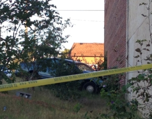 The vehicle crashed into the south side of Gilmores Funeral Home on Liberty Street (WGHP)