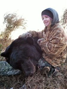 Madison Moore, a sixth grader at Clemmons Middle School, who shot a 610-pound bear. (Photo by Frank Miller and courtesy of Winston-Salem Journal)