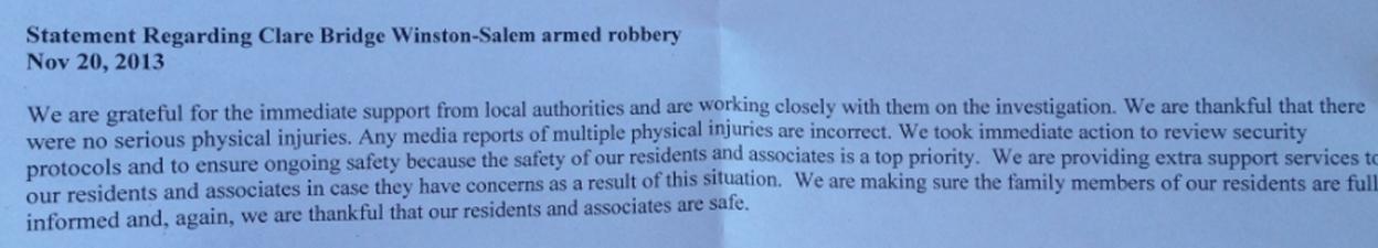 Statement regarding Clare Bridge Winston-Salem armed robbery