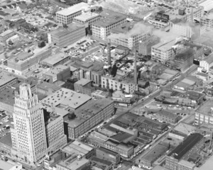 1956 overhead image of what used to be primarily R.J. Reynolds tobacco company warehouses and factories.