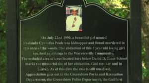 Greensboro unveiled the Shalonda Poole memorial plaque in July 2013 in the Warnersville community.