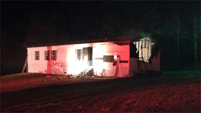 Fire at Pine Top Road in Lexington (WGHP)