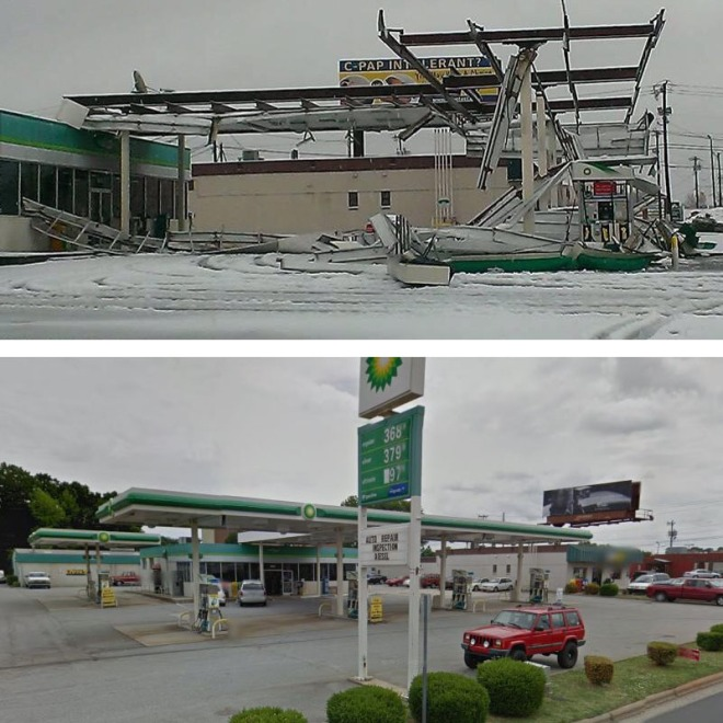 BP on Battleground Ave. before and after photo (WGHP and Google Maps)