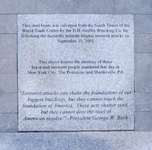 A 9/11 memorial unveiled at Carolina Field of Honor at Triad Park in Kernersville on Thursday, Sept. 11, 2014, includes this plaque, which has drawn criticism for its wording. (Bruce Chapman/Journal)