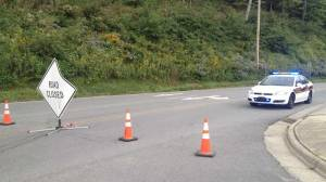 A road closure in Boone near the area where officials said the body was found. (WGHP-TV)