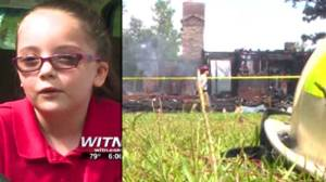 Sage Lewis, 7, is credited with saving her family from a fire twice in the same day. (Images: WITN-TV via NDN)