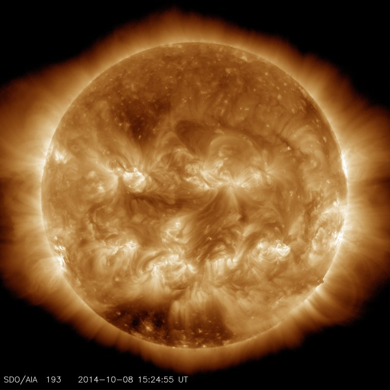 The sun as imaged by the Solar Dynamics Observatory on October 8, 2014 in 193 angstrom extreme ultraviolet light. (Credit: NASA/SDO)