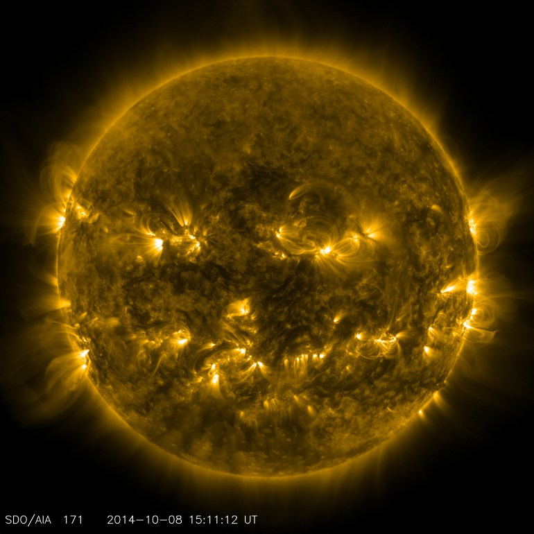 The sun as imaged by the Solar Dynamics Observatory on October 8, 2014 in 171 angstrom extreme ultraviolet light. (Credit: NASA/SDO)