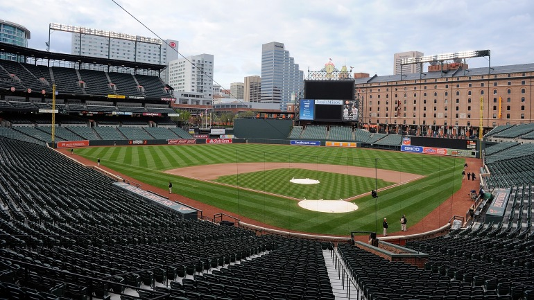 An empty Oriole Park at Camden Yards is shown after the game between the Baltimore Orioles and the Chicago White Sox was postponed on April 27, 2015 in Baltimore, Maryland. The move comes amid violent clashes between police and youths, according to news reports, the aftermath of the death of Freddie Gray on April 19 after suffering a fatal spinal injury while in police custody. (Greg Fiume/Getty Images)