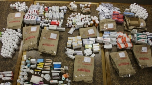 The Ventura County Sheriff's Office released this image showing prescription bottles they confiscated from Gammill's office. (KTLA)