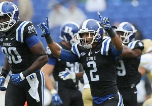 Evrett Edwards #2 of the Duke Blue Devils reacts after a play against the Georgia Tech Yellow Jackets during their game at Wallace Wade Stadium on September 26, 2015 in Durham, North Carolina.  (Photo by Streeter Lecka/Getty Images)