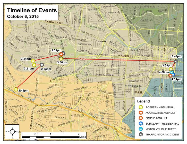 Timeline of incidents in Tuesday crime rampage. (Credit: Greensboro Police Department)