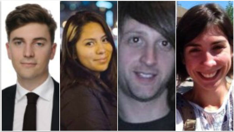 From left to right: Valentin Ribet was a Paris lawyer and graduate of the London School of Economics and Political Science. Nohemi Gonzalez, from El Monte, California, was a junior studying design, according to a statement from Cal State Long Beach. Briton Nick Alexander was killed at the Bataclan while working with the band Eagles of Death Metal. Paris victim Lola Salines was at the Bataclan concert hall, her father said.