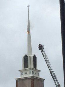 Steeple on fire at High Point church.