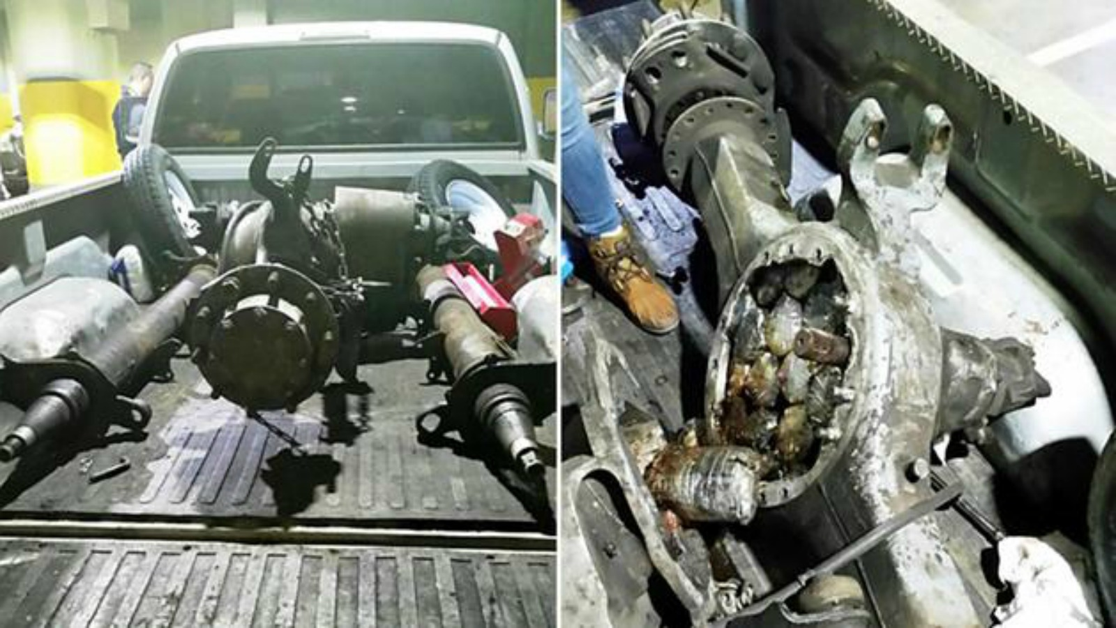 One of the trucks seized, left, and the heroin bundled inside the axle and the drive shaft casings. (NYPD)