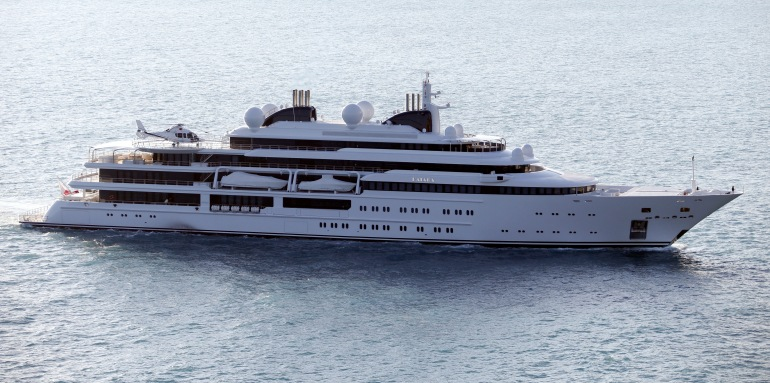 The Katara, a 124-meter superyacht, property of the emir of Qatar. arrives on March 15, 2013, in Nice harbor. (Photo credit: Valery Hache/AFP/Getty Images)