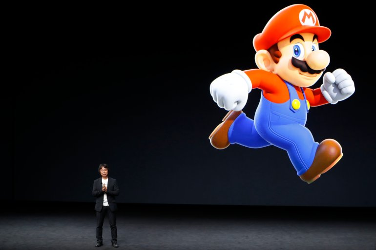Shigeru Miyamoto, creative fellow at Nintendo and creator of Super Mario, speaks on stage during an Apple launch event on Sept. 7, 2016, in San Francisco. (Photo by Stephen Lam/Getty Images)