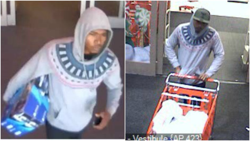 The man in these photos is accused ofbreaking into several vehicles in Graham. The images were taken at a Target store in Cary. (Provided by Graham police)