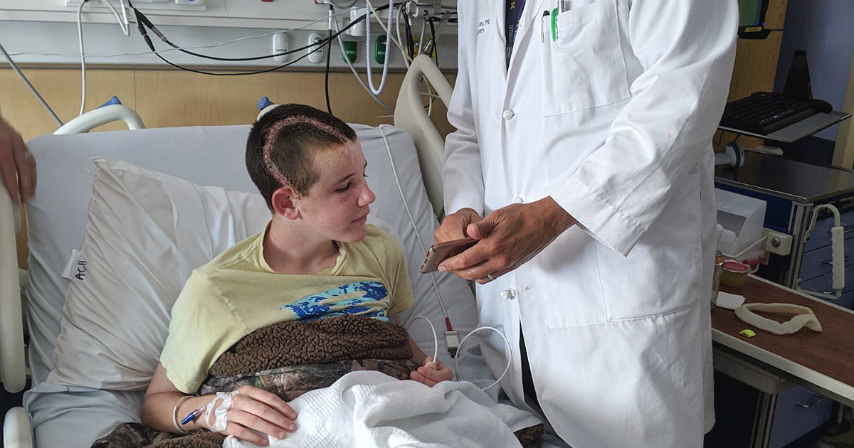 This teen survived a major brain injury after an anchor on a boat struck him in the head. His recovery, doctors said, is a miracle. (Kelli Bennett/Johns Hopkins All Children's Hospital)