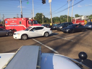 Crash at the intersection of American Way and Getwell