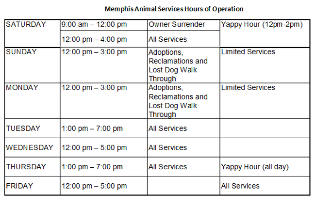 Memphis Animal Services Hours of Operation