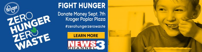 News Channel 3 teams up with Kroger for Zero Hunger Zero Waste Day at Poplar Plaza on September 7, 2018
