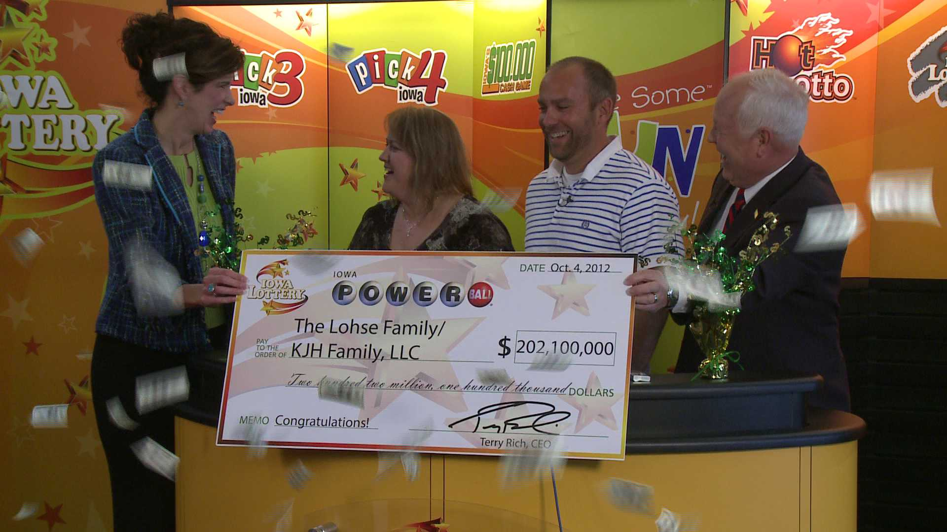 The Lohse's the day they received their $200 million.