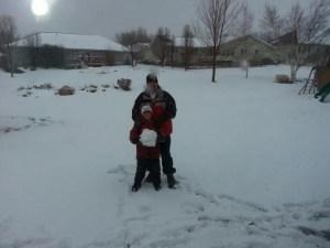 Dad son snow