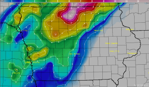 Snow Map for Iowa May Storm 2013