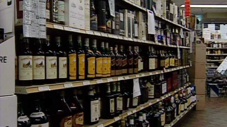 Liquor aisle at grocery store. (WHO-HD)