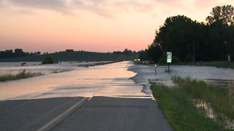 Highway flooding near Marshalltown on Tuesday, July 1, 2014. (WHO-HD)