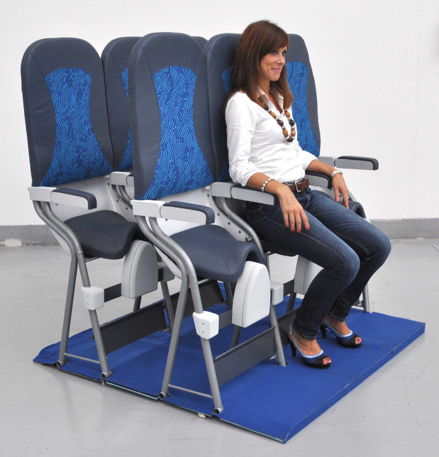 The SkyRider, developed by Aviointeriors S.p.A. was unveiled at an expo in 2010. It is a vertical passenger seat, or standing cabin. (Aviointeriors S.p.A.)
