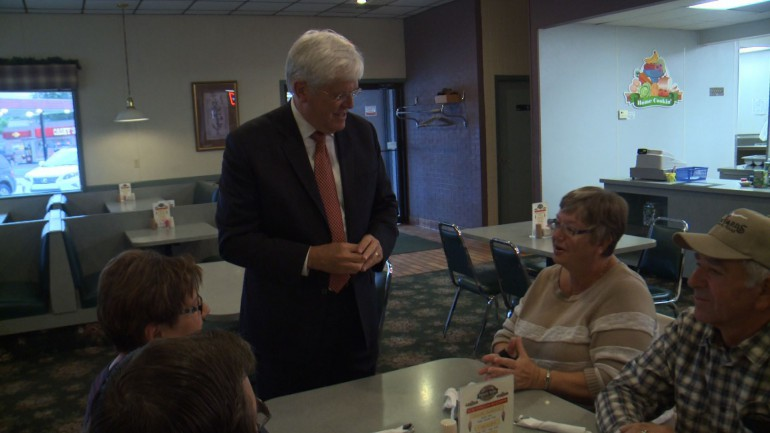 Democratic Senator Jack Hatch campaigns for Governor at Family Table Restaurant in Pocahontas
