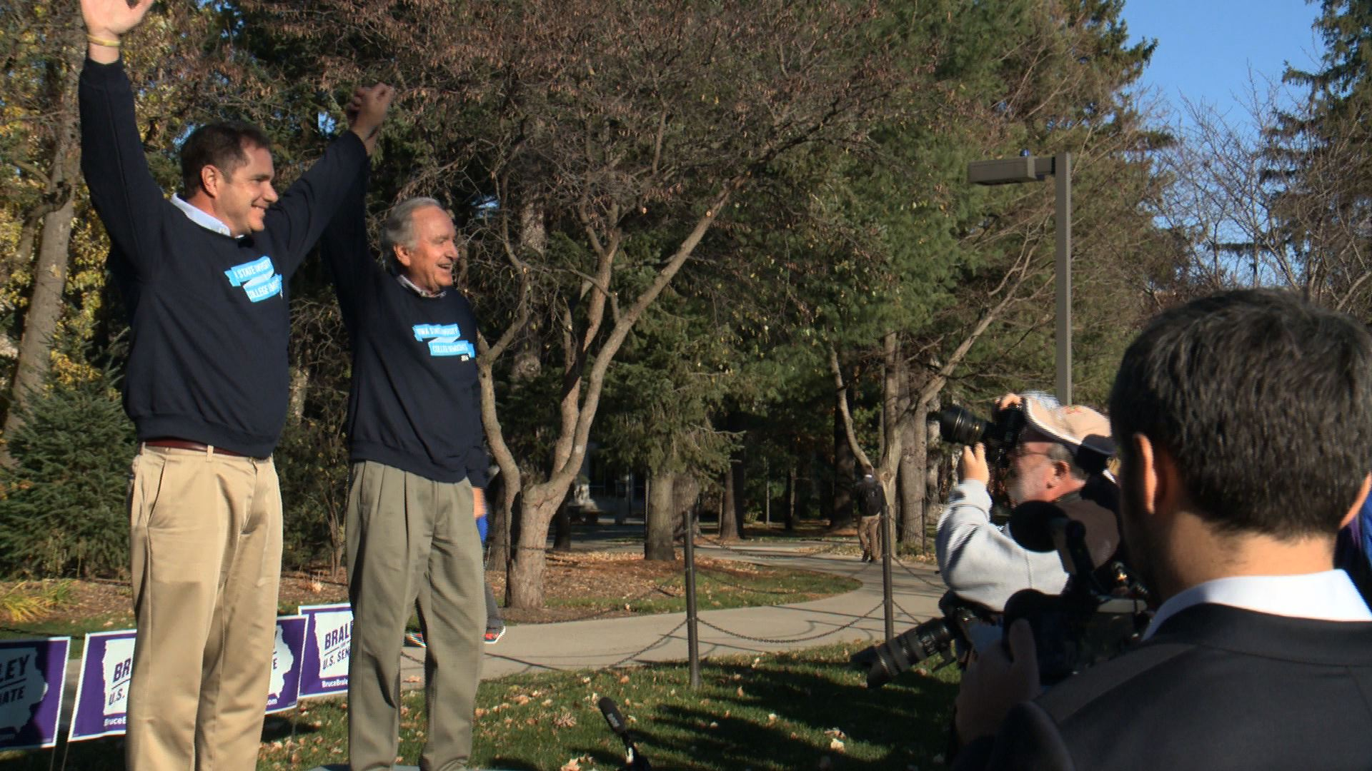 Senator Tom Harkin with Congressman Bruce Braley at a rally on the Iowa State University Campus