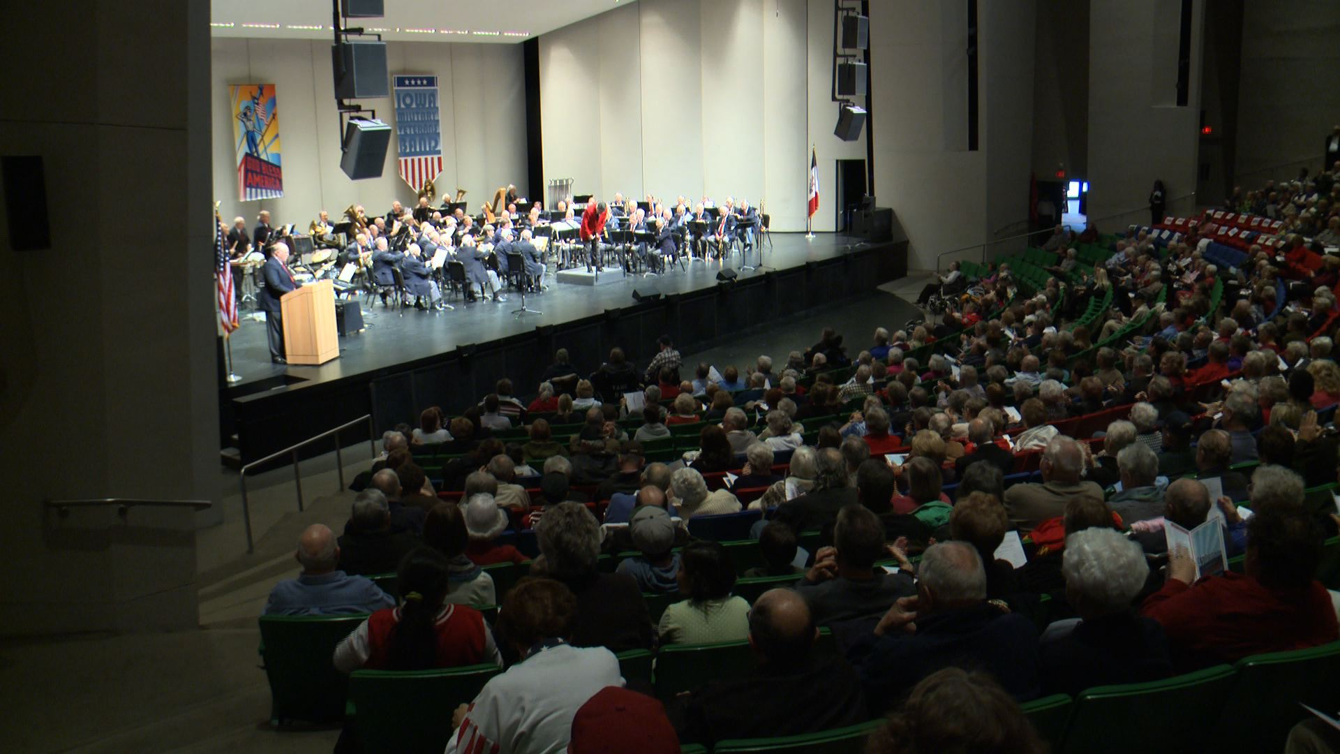 Iowa Military Veterans Band plays in the Star-Spangled Salute at the Civic Center Sunday.