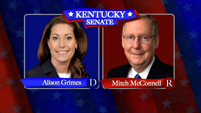 Alison Grimes (D) and Mitch McConnell are candidates running for Senate in Kentucky. (CNN)