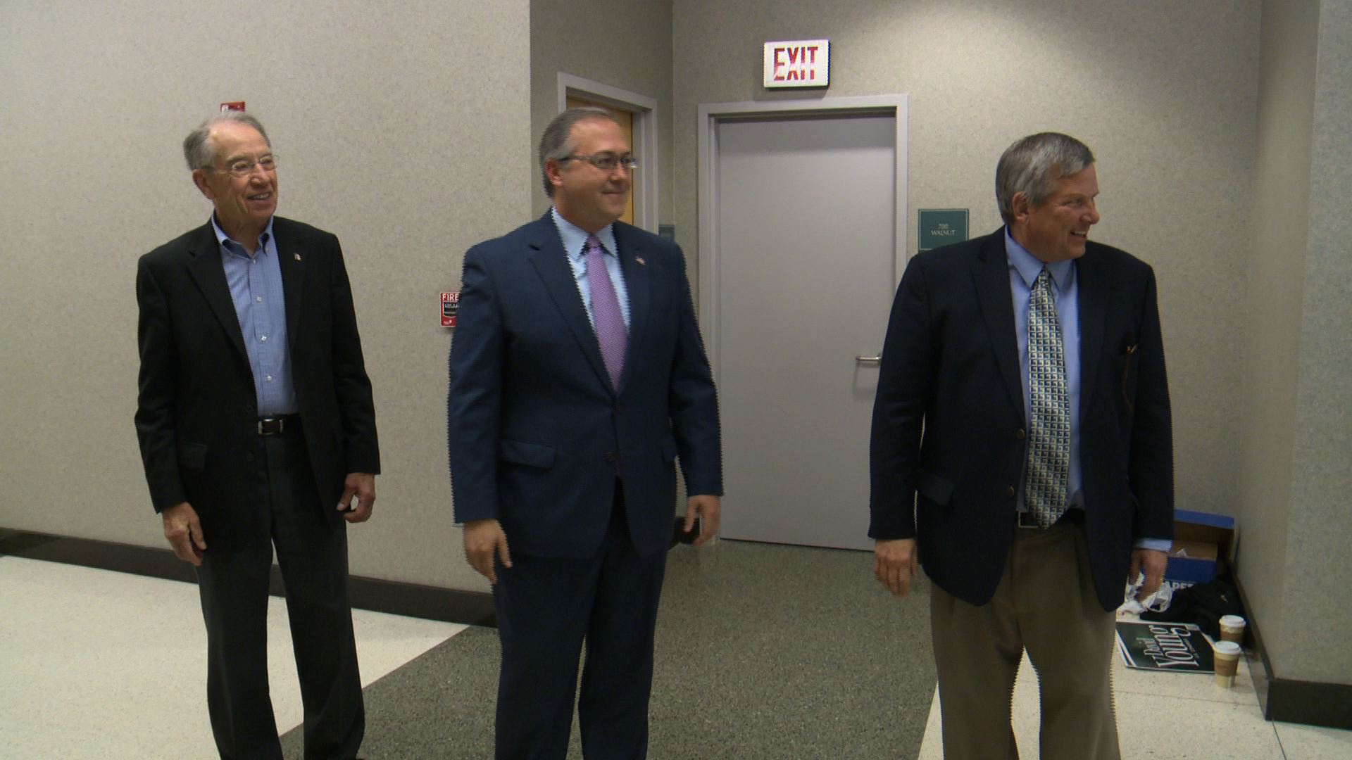David Young campaigns for US Congress with Senator Chuck Grassley and Iowa Ag Secretary Bill Northey