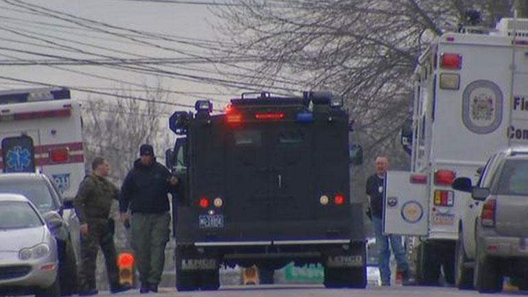 Police respond to the Souderton scene. (NBC News)