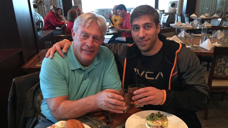 Ryan Ferguson and his dad toast on their trip to Atlanta for the 2014 SEC championship game. (Courtesy: Ryan Ferguson)