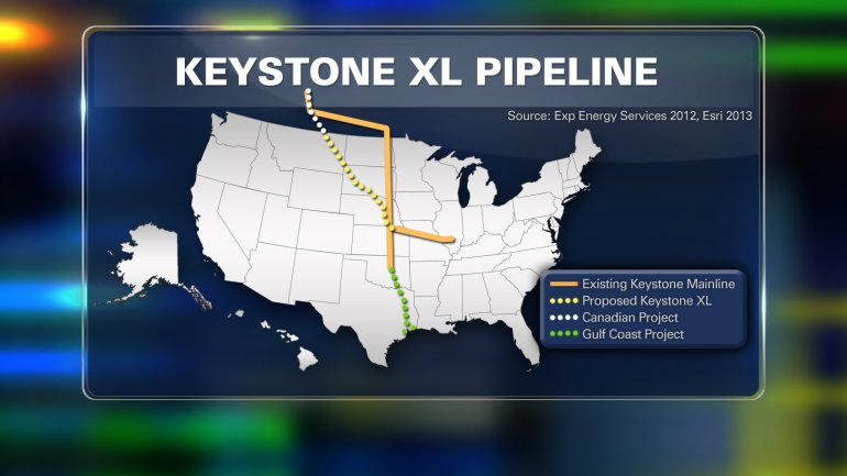This map depicts the proposed locations of the Keystone XL Pipeline.
