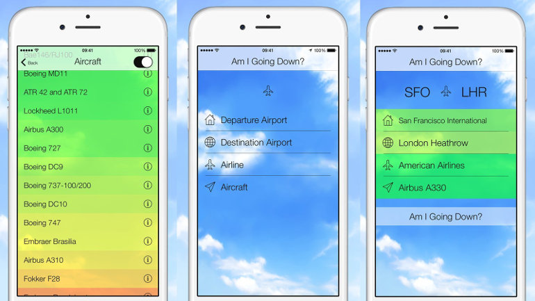 "New app ""Am I Going Down?"" uses aviation to analyze the odds a flight will crash. (CNN)"